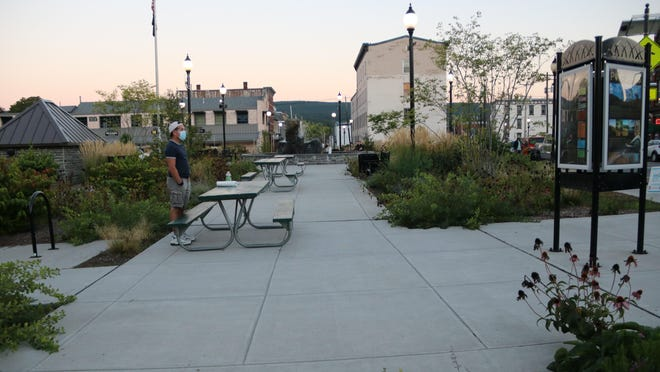 "The once-infamous ""Grab Point"" in Port Jervis, known long ago for crime and vice, is now the well-lighted and popular Kucher Promenade, with landscaping and benches."