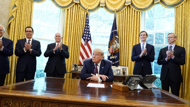 President Donald Trump speaks in the Oval Office of the White House on Sept. 11 after Bahrain agreed to normalize ties with Israel.