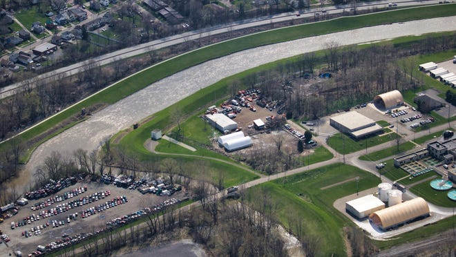An aerial view of high water within the Massillon levee system in April 2019. Damaging rain over the last few years has prompted the U.S. Army Corps of Engineers to conduct a levee upgrade and repair project that is expected to start in mid-November.