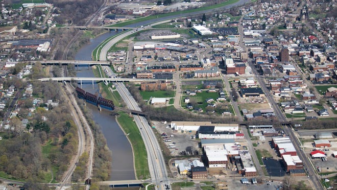 An aerial view of the Massillon levee system, which runs parallel to state Route 21. The main part of a federal project to upgrade the levee is expected to begin in the spring.