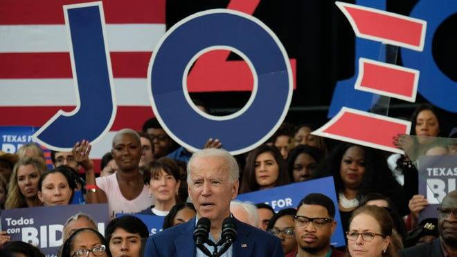 Democratic presidential candidate Joe Biden speaks at Texas Southern University in Houston on March 2. Biden's campaign is ramping up efforts in Texas with a $6.2 million ad buy, which is set to begin Tuesday and run through the election.