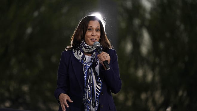 Democratic vice presidential candidate Sen. Kamala Harris, D-Calif., speaks at a campaign event Tuesday, Oct. 27, 2020, in Las Vegas. Harris will head to Fort Worth, McAllen and Houston on Friday, the campaign announced Wednesday.