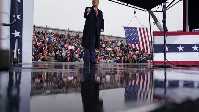 President Donald Trump speaks at a campaign rally at HoverTech International, Monday in Allentown, Pa.