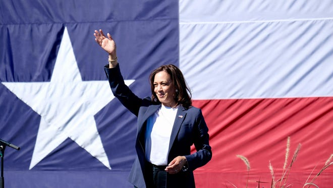 Democratic vice presidential candidate Kamala Harris speaks at a Fort Worth rally on Friday.