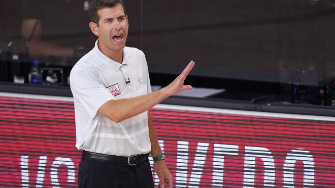 Boston Celtics head coach Brad Stevens yells to his players during the second half of last Friday's Game 5 of the Eastern Conference finals against the Miami Heat in Lake Buena Vista, Fla.