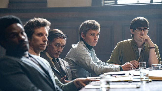 """Starring in """"The Trial of the Chicago 7"""" are, from left, Yahya Abdul-Mateen II, Ben Shenkman, Mark Rylance, Eddie Redmayne and Alex Sharp."""