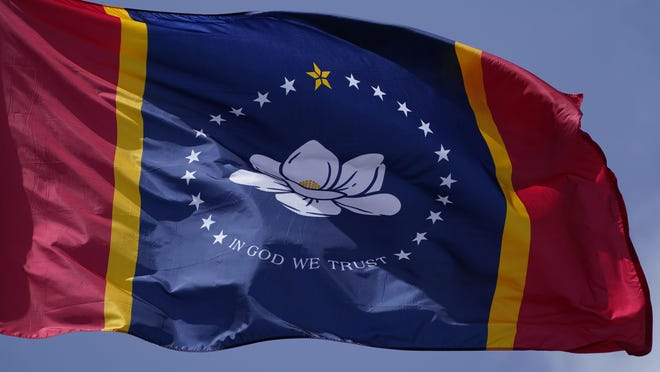 Voters approved a magnolia-centered banner chosen by the Mississippi State Flag Commission, seen here displayed outside the Old State Capitol Museum in downtown Jackson, Miss., as the new state flag.