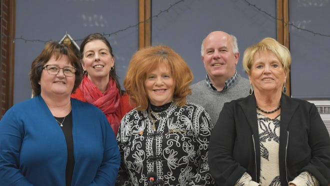 Sally Black, center, is flanked by fellow Tiverton School Committee members, from left, Diane Farnworth, Deborah Pallasch, Jerome Larkin and Elaine Pavao.