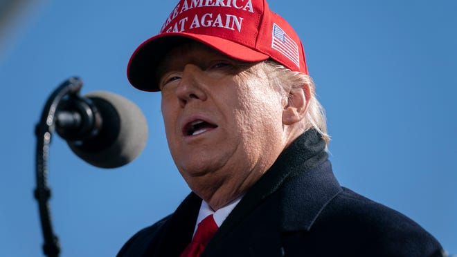 President Donald Trump speaks during a campaign rally at Fayetteville Regional Airport, Monday, Nov. 2, 2020, in Fayetteville, N.C.