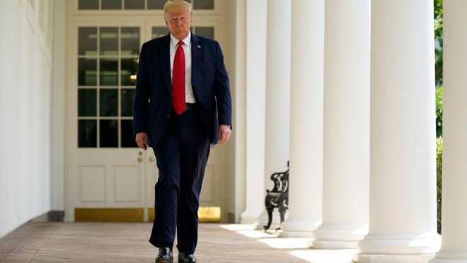 President Donald Trump arrives to speaks at an event on police reform, in the Rose Garden of the White House, Tuesday, June 16, 2020, in Washington.