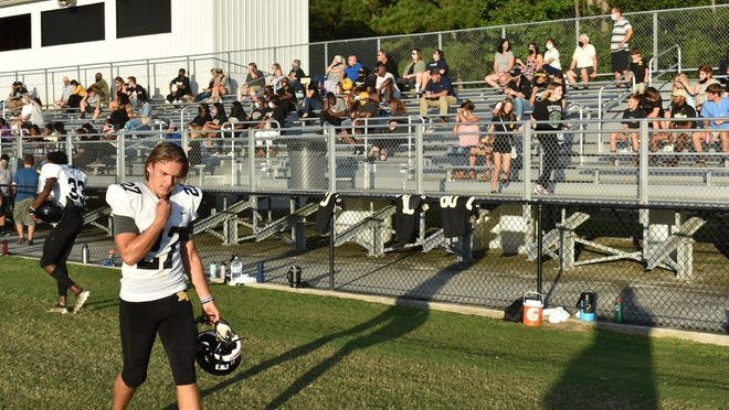 Richmond Hill kicker Britton Williams on the sidelines after a successful field-goal attempt during the scrimmage Aug. 21.