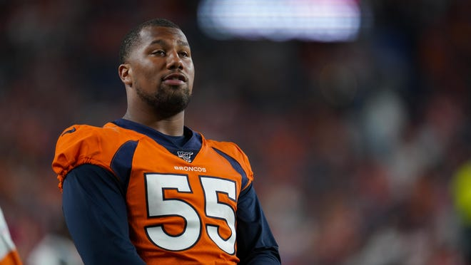 In this Aug. 19, 2019, file photo, Denver Broncos outside linebacker Bradley Chubb looks on during an NFL preseason game between the Denver Broncos and the San Francisco 49ers in Denver. Many players polled by The Associated Press over the last couple of weeks say they are scared to return to work without a cure or a vaccine for the coronavirus. By and large, however, those same players say they trust the protocols the NFL will have in place by the time practices resume and games return.