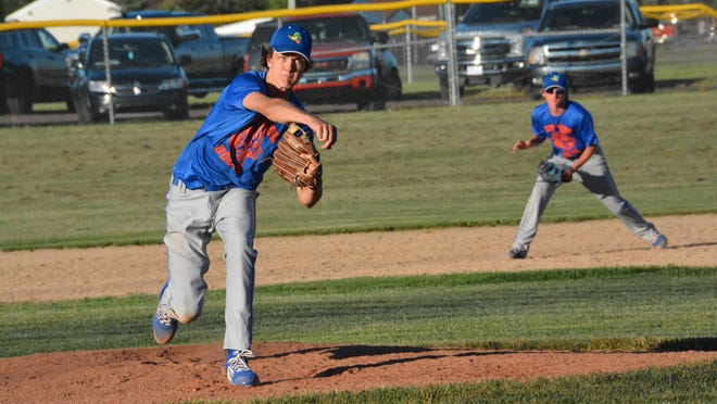 Dalton Graham of the EUP Wood Ducks deals from the mound during a game against Petoskey Tuesday at James Field.