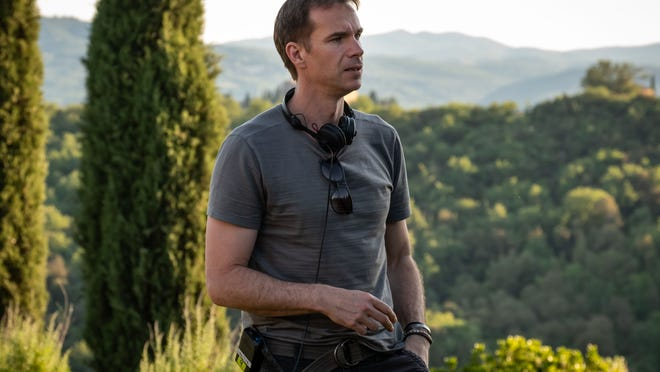 James D'Arcy takes a breather in the Tuscan countryside before directing his next shot.