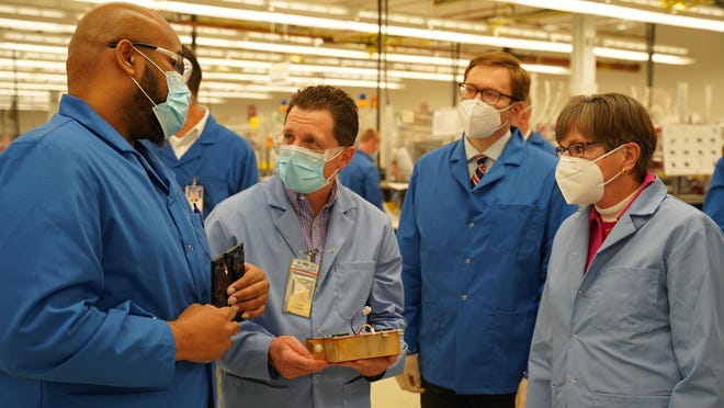Gov. Laura Kelly, right, toured Spirit AeroSystems on Thursday afternoon in Wichita to see its new ventilator assembly line.