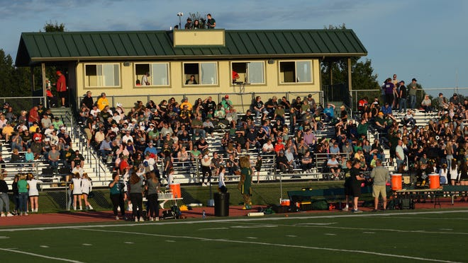 Shown are fans attending a 2019 Basehor-Linwood High School varsity football game at Kiester Field.