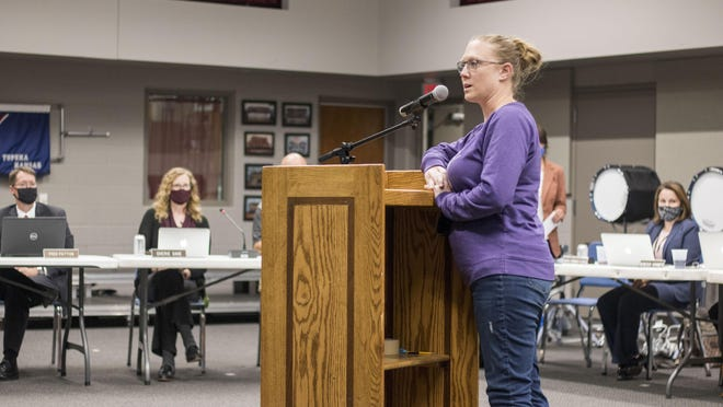 Sarah Brinkley, a special education teacher at Logan Elementary and former president of the Seaman chapter of the National Education Association teachers union, urges the Seaman Board of Education to slow down its plan to bring middle and high school students back for full-time, in-person learning at the board's meeting Monday evening. The board ultimately killed a district proposal that would have done just that, citing teacher concerns over safety and added workloads.