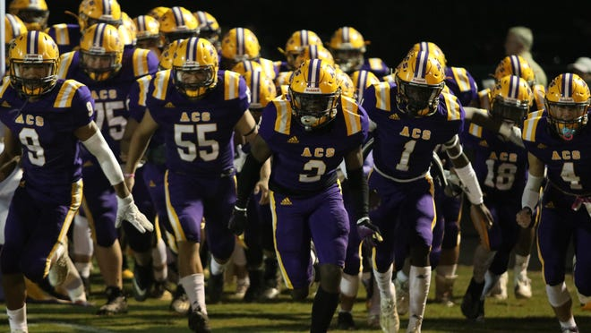 Athens Christian takes the field before its 45-21 win Friday night against Loganville Christian in Athens.