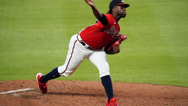 Atlanta Braves relief pitcher Touki Toussaint delivers during the third inning of a baseball game against the Philadelphia Phillies, Sunday, Aug. 23, 2020, in Atlanta.
