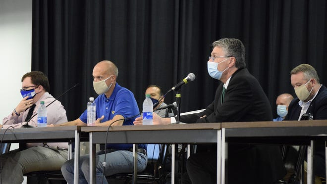 Aiken County's school board hears comments and questions from the public during a town hall meeting at Wagener-Salley High School Tuesday, Sept. 15.