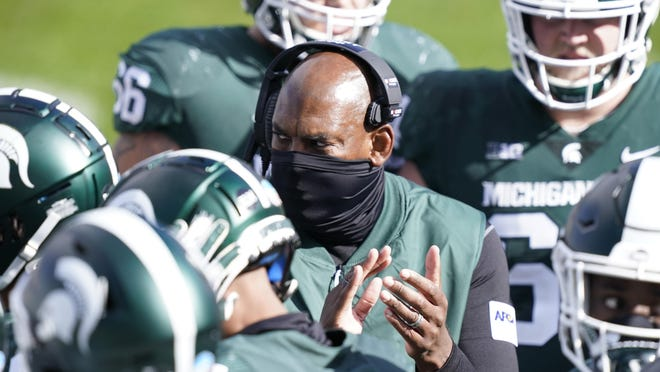 Michigan State head coach Mel Tucker is seen during the second half of an NCAA college football game against Rutgers, Saturday, Oct. 24, 2020, in East Lansing, Mich.