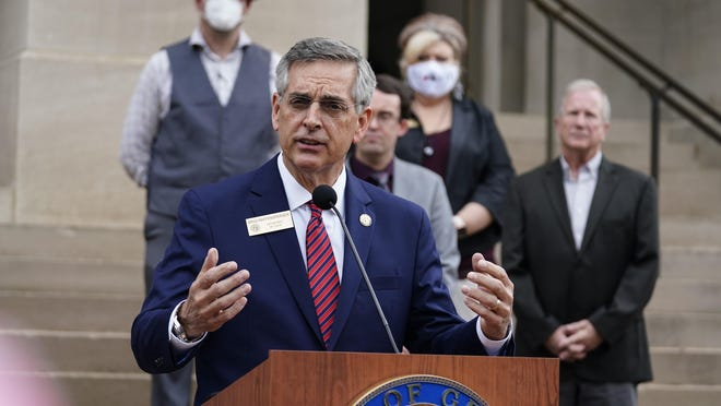 Georgia Secretary of State Brad Raffensperger speaks during a news conference on Wednesday, Nov. 11, 2020, in Atlanta. Georgia election officials have announced an audit of presidential election results that will trigger a full hand recount.