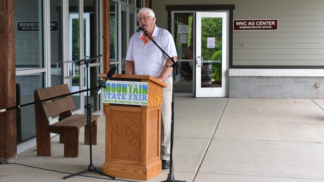 N.C. Agriculture Commissioner Steve Troxler speaks at a news conference at the WNC Ag Center on Tuesday, when he announced the Mountain State Fair will be canceled this year.