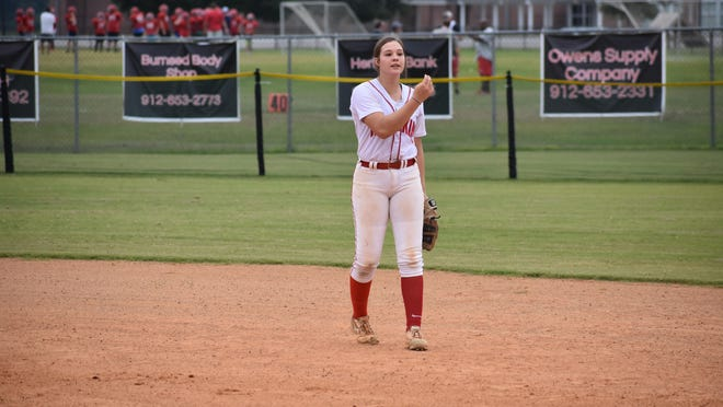 Bryan County's Kenzie Mobley playing shortstop against Portal.