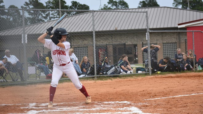 Bryan County softball player Daxne Carrera at the plate during a recent game against Portal in Pembroke.