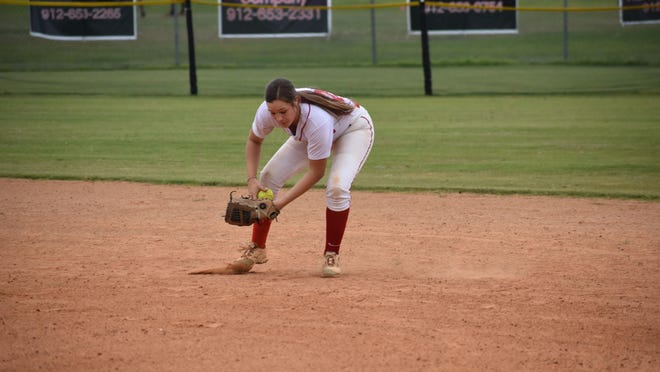 Bryan County's Kenzie Mobley playing shortstop against Portal earlier this season.