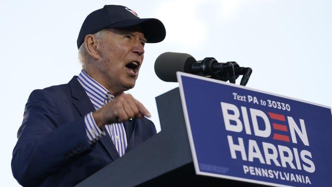 Democratic presidential candidate former Vice President Joe Biden speaks at a campaign event at Dallas High School in Dallas, Pa., Saturday, Oct. 24, 2020.