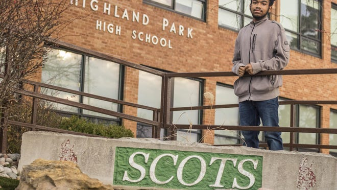 Ajani Cooper, a sophomore at Highland Park High School, was honored for his heroism after jumping into action when a car overturned outside the school on Nov. 3. Cooper broke the car window to rescue a toddler and a dog from the vehicle.