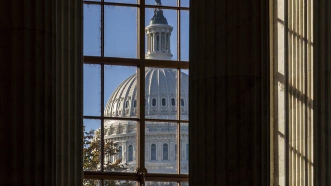 The morning sun illuminates the rotunda of the Russell Senate Office Building on Capitol Hill in Washington, Tuesday, Nov. 10, 2020.