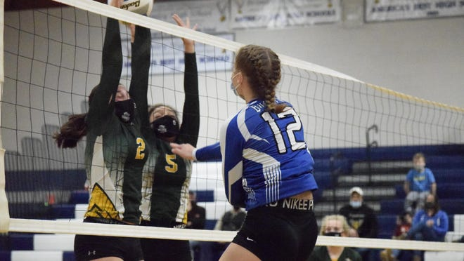 Brimley's Alana VanderMeer (12) attacks against Engadine during a Division 4 volleyball district Monday night at the Karl Parker Gym.