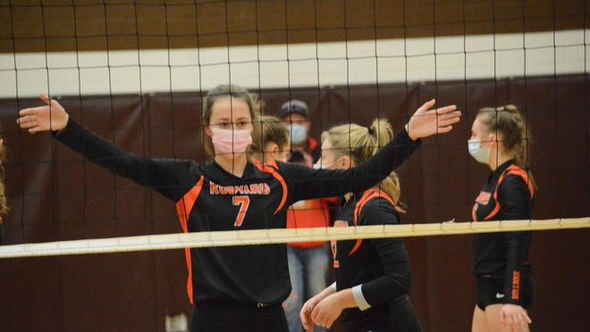 Rudyard's Addie Kuenzer (7) gets ready at the net during a regional final volleyball match against Inland Lakes. MHSAA fall sports tournamnents and winter sports practices remain on hold.