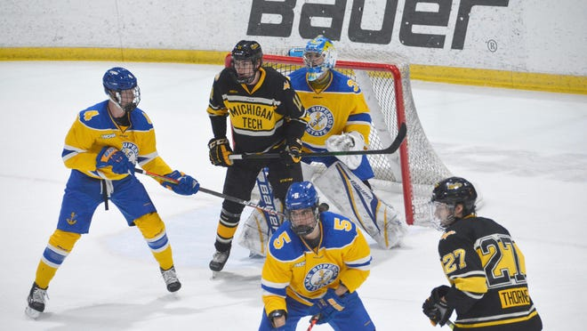 Lake Superior State competes against Michigan Tech in an early season game at Taffy Abel Arena back in November. The Lakers are scheduled to be at home this Friday and Saturday, facing Minnesota State in a WCHA series.