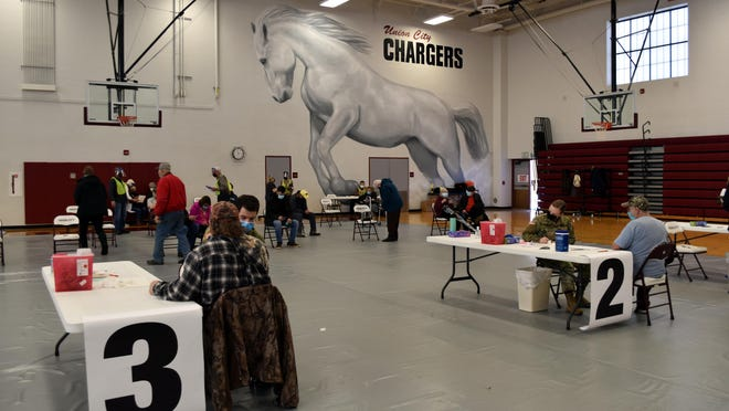National Guard and volunteers administered 280 Moderna COVID-19 vaccine doses Wednesday at the Union City High School gymnasium.