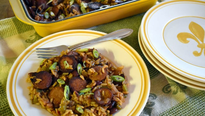Dump and Bake Sausage Red Beans and Rice Casserole.