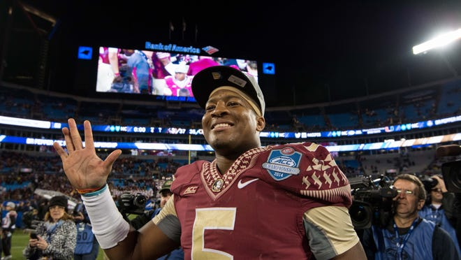Jameis Winston smiles after leading Florida State to a 37-35 win over Georgia Tech in the ACC Championship Game earlier this month.