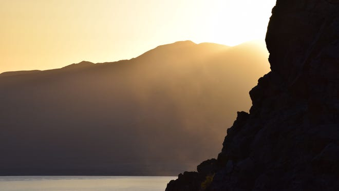 A sunrise over Walker Lake in Nevada in April 2015 as seen from Cottonwood Canyon on Mt. Grant.