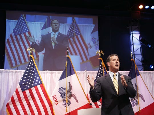 Former Sen. Rick Santorum speaks Saturday, April 25, 2015 at the Faith & Freedom Coalition Spring Kick Off at Point of Grace Church in Waukee.