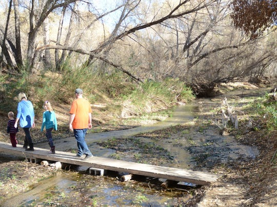 Visitors cross the Hassayampa River in the Hassayampa River Preserve near Wickenburg.