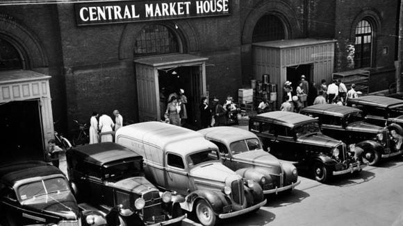 The framing around the doors of Central Market, seen in this pre-World War II photo, was removed at a later point.