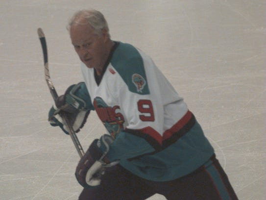 Detroit Vipers' Gordie Howe on the ice during the first