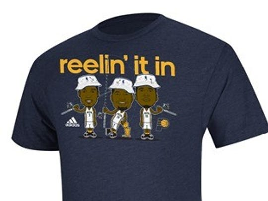 """New Pacers themed """"Reelin' It in Shirt."""""""