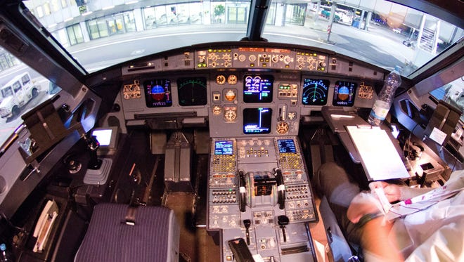 The cockpit of the crashed Germanwings A320 aircraft is seen at the airport in Duesseldorf, Germany, on  Sunday. The picture was taken on one of its last flights before the crash.