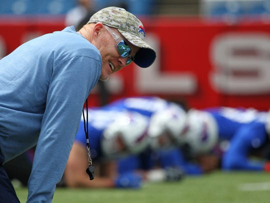 Bills coach Sean McDermott watches practice during the rookie camp Friday.