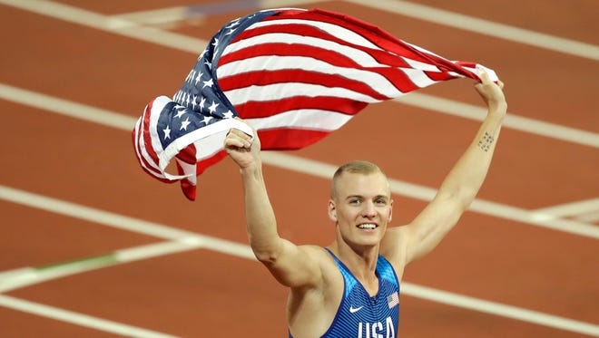 Sam Kendricks followed up his June U.S. title with a gold in the IAAF World Championships Tuesday.