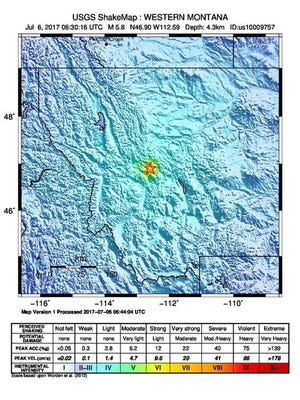 A handout shake map made available by the United States Geological Survey shows the location of a 5.8 magnitude earthquake which struck at a depth of 4.3 km, 9 km east of Lincoln, Montana, July 6, 2017.