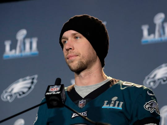 Philadelphia Eagles quarterback Nick Foles (9) takes part in a media availability for the NFL Super Bowl 52 football game Thursday, Feb. 1, 2018, in Minneapolis. Philadelphia is scheduled to face the New England Patriots Sunday. (AP Photo/Eric Gay)